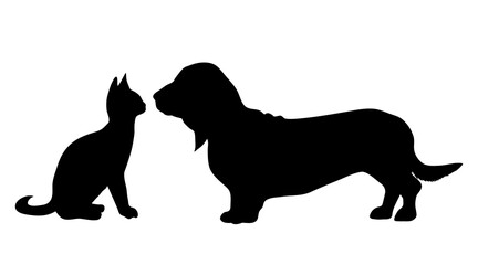 Vector silhouette of dog with cat on white background.