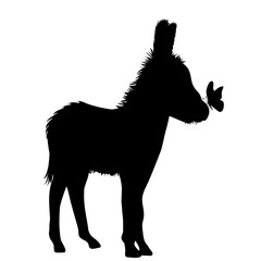 Vector silhouette of donkey with butterfly on white background.