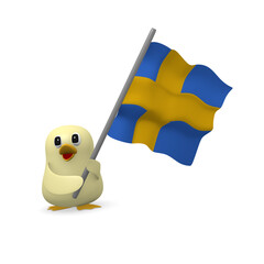 Funny bird with Swedish flag