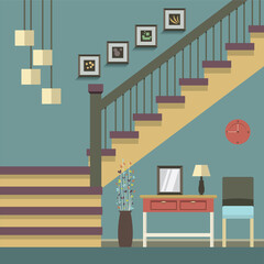 Hallway Decoration Vector Illustration