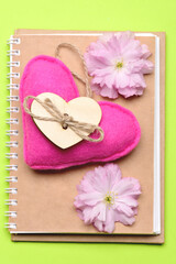 Notebook of simple eco design and handmade pink heart