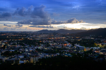 viewpoint on hill see to phuket town in twilight
