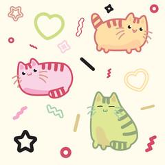 Kawaii style cat, kitten, kitty, pet vector on light background