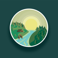 Landscape round vector illustration river and green forest against sun