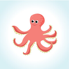 Cute cartoon octopus hand drawn vector