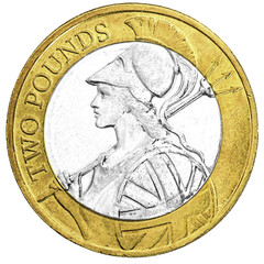 UK two pound coin with Britannia design in closeup