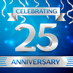 Twenty five Years Anniversary Celebration Design. Confetti and silver ribbon on blue background. Colorful Vector template elements for your birthday party. Anniversary ribbon
