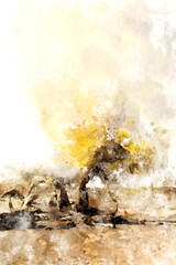 Lonely tree in autumn with yellow leaves in the desert, digital watercolor painting