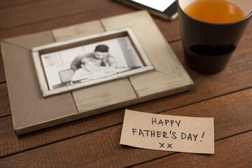 Paper with text by picture frame and coffee cup on table