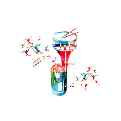 Music instruments background. Colorful euphonium with snare drum isolated vector illustration