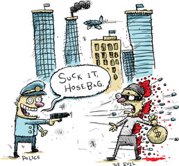 A cartoon police officer shooting and killing a bank robber in a city.
