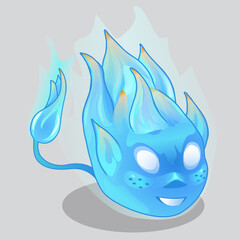 Blue fiery demon in cartoon style. Vector