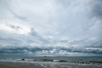 Beautiful seascape before raining in wide angle sight