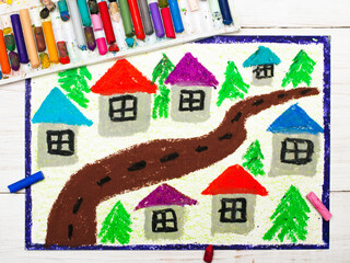 Colorful drawing: village drawing,