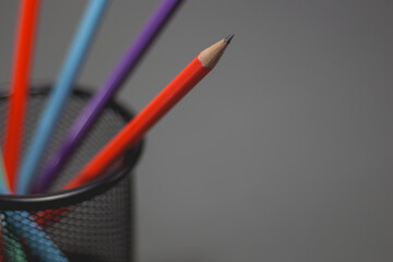 Colorful pencils for drawing on copy space background.