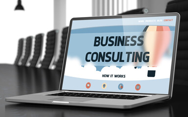 Laptop Display with Business Consulting Concept on Landing Page. Closeup View. Modern Conference Hall Background. Blurred Image. Selective focus. 3D Illustration.