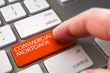 Commercial Mortgage Concept - White Keyboard with Orange Button. 3D Illustration.