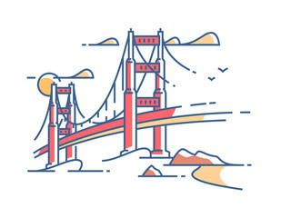 Golden Gate Bridge to San Francisco for crossing bay. Vector illustration