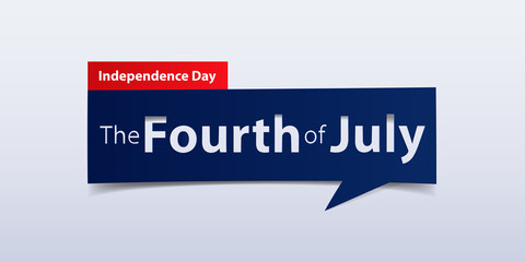 4th July Independence  Day banner isolated on white color gradient background. Banner design template in paper cutting art style. Vector illustration