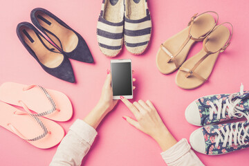 Woman's shoes collection. Fashion background