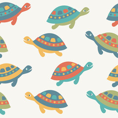 Seamless background with sea turtles. Vector illustration.