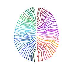 Zeichnung Gehirnströme im Gehirn