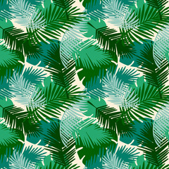 Seamless pattern tropical palm leaves on a white  background. Vector tropic wallpaper design.