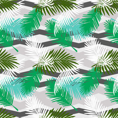 Seamless pattern tropical palm leaves on a geometric background. Vector tropic wallpaper design.