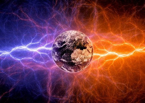Earth apocalypse in the fire and ice lightnings. Elements of this image furnished by NASA