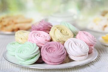 Delicate homemade zephyr or marshmallows