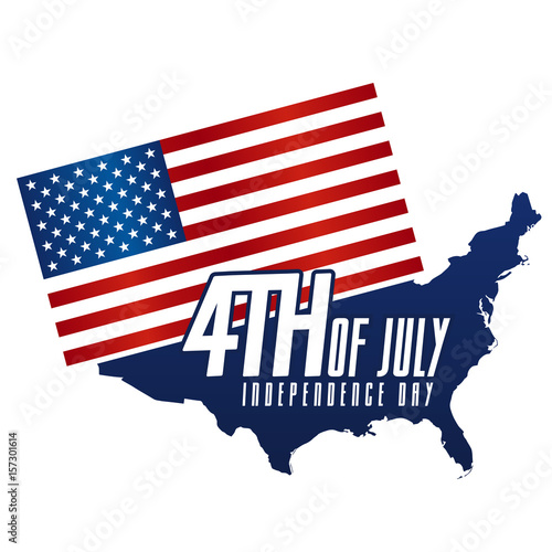 Independence Day 4th July United States of america Day USA Map