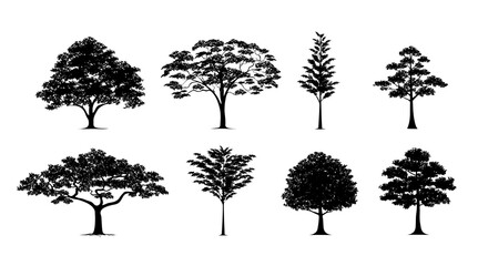 silhouette tree set Wall mural