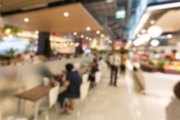 Blurry images of the food center for background design.