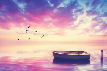 romantische Stimmung - Boot im Morgenlicht