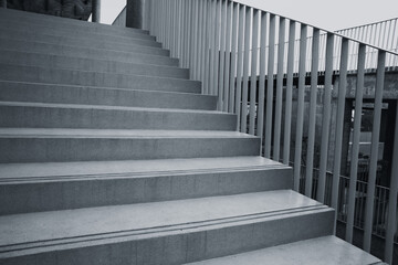 Printed roller blinds Stairs black and white architecture building design concept. concrete stair way.