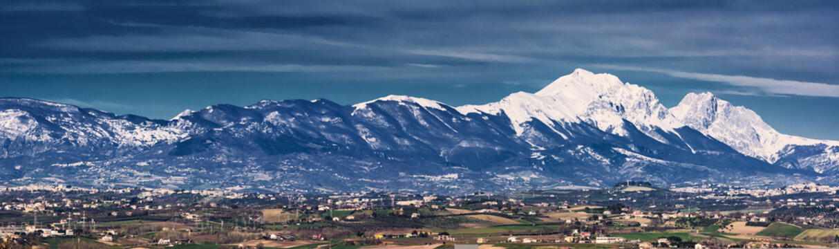Silhouette of the Gran Sasso in Abruzzo resembling the profile of the Sleeping Beauty