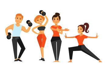 Man and woman in gym making sport fitness exercises vector icons