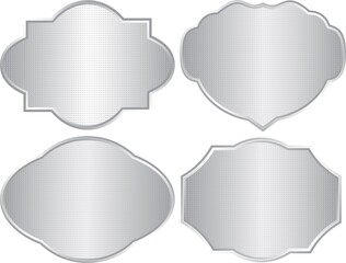 set of isolated silver textured frames