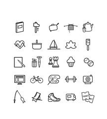 pictogrammes, icônes, senior, activités, loisirs, retraite