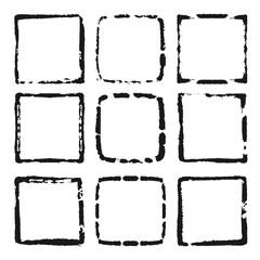 Vector set of black frames. Grunge style design