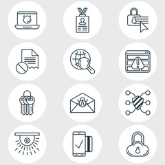 Vector Illustration Of 12 Data Protection Icons. Editable Pack Of Browser Warning, Key Collection, Account Data And Other Elements.