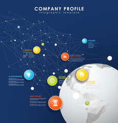 Company profile overview template with colorful circles, dots and polygonal globe on blue background- dark version.