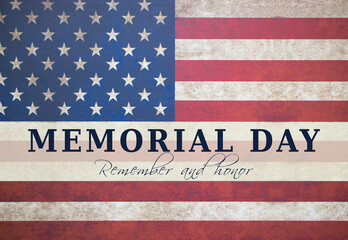Memorial day text card with american flag background.