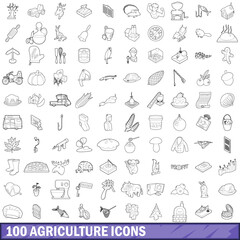 100 agriculture icons set, outline style