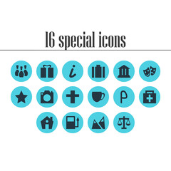 Vector Illustration Of 16 Location Icons. Editable Pack Of Masks, Car Park, Cross And Other Elements.