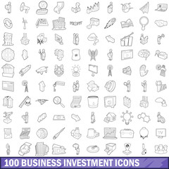 100 business investment icons set, outline style