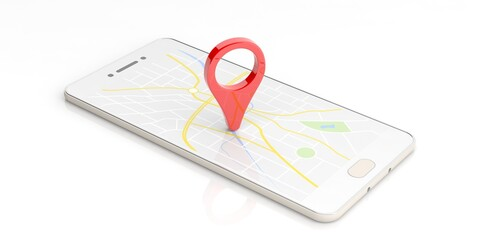 Map pointer location on a smartphone. 3d illustration