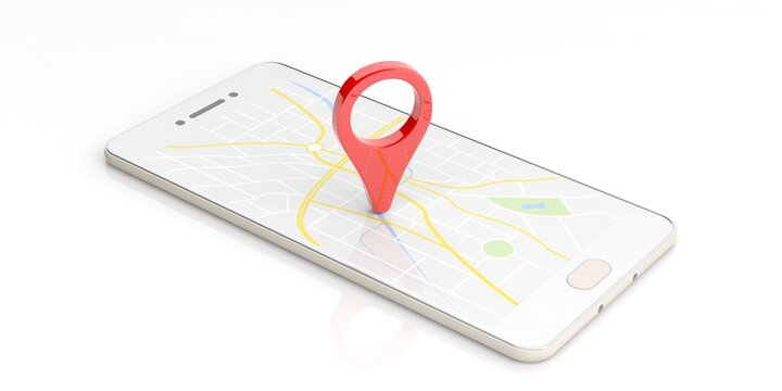 Map pointer location isolated on a smartphone. 3d illustration