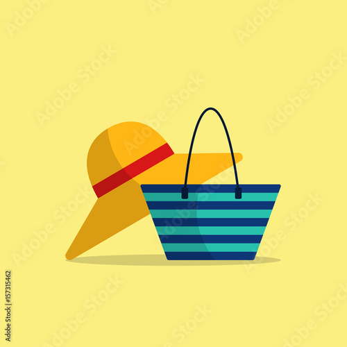 b4184454a Beach vacation icon Vector illustration Icons of wide-brimmed hat and beach  bag on light-yellow background Cartoon style Isolated objects