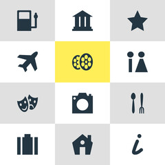 Vector Illustration Of 12 Location Icons. Editable Pack Of Refueling, Home, Aircraft And Other Elements.